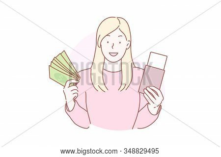 Travelling, vacation, tourism concept. Young woman tourist bought flight ticket, goes to travel abroad. Adventurous girl traveler flies with tickets to other country on vacation. Simple flat vector stock photo