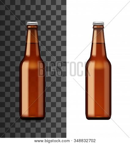 Beer bottle mockup template, realistic 3d alcohol drink glass. Vector isolated blank brown bottle with closed cap, Irish ale or craft lager beer, alcohol beverages drinks bar menu stock photo