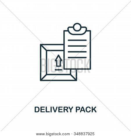 Delivery Pack line icon. Thin design style from logistics delivery icon collection. Simple delivery pack icon for infographics and templates stock photo