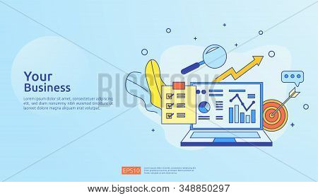 chart document data report concept for business statistics, investment analysis, planning research and finance audit accounting with paper sheet, hands, magnifier, paperwork, charts, graphs element stock photo