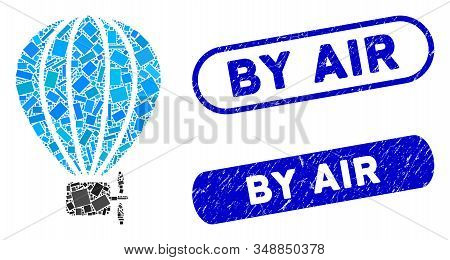 Mosaic air balloon and rubber stamp seals with By Air phrase. Mosaic vector air balloon is created with random rectangle items. By Air seals use blue color, and have round rectangle shape. stock photo