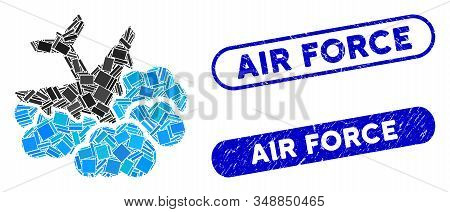 Mosaic aircraft falls into clouds and grunge stamp seals with Air Force caption. Mosaic vector aircraft falls into clouds is designed with scattered rectangle items. stock photo
