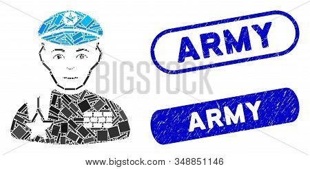Mosaic army general and distressed stamp watermarks with Army phrase. Mosaic vector army general is formed with random rectangle items. Army stamp seals use blue color, and have round rectangle shape. stock photo