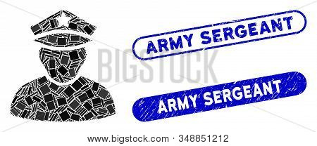 Mosaic army sergeant and rubber stamp seals with Army Sergeant phrase. Mosaic vector army sergeant is formed with randomized rectangle items. Army Sergeant stamp seals use blue color, stock photo