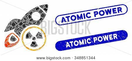 Mosaic atomic rocket science and rubber stamp seals with Atomic Power text. Mosaic vector atomic rocket science is designed with scattered rectangles. Atomic Power stamp seals use blue color, stock photo