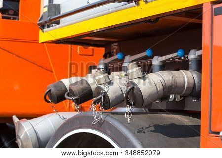 Control system of fire engine or fire truck. System will have a water shutoff valve. Pressure Check System The system. Will be controlled by fireman. The car will run out to help with the fire. stock photo