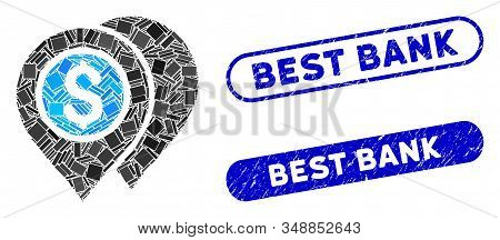 Mosaic bank map pointers and grunge stamp seals with Best Bank phrase. Mosaic vector bank map pointers is composed with scattered rectangle items. Best Bank stamp seals use blue color, stock photo