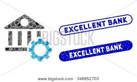 Mosaic bank options and grunge stamp seals with Excellent Bank phrase. Mosaic vector bank options is formed with randomized rectangles. Excellent Bank stamp seals use blue color, stock photo