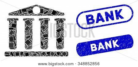 Collage bank and distressed stamp seals with Bank text. Mosaic vector bank is designed with random rectangles. Bank stamp seals use blue color, and have round rectangle shape. stock photo