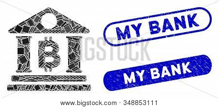Mosaic Bitcoin bank building and distressed stamp seals with My Bank phrase. Mosaic vector Bitcoin bank building is designed with scattered rectangle items. My Bank seals use blue color, stock photo