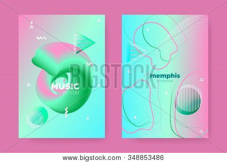 Trendy Abstract Geometric Elements. 70s or 80s Design. Pink Fluid Gradient Shapes. Vector 3d Dynamic Covers. Memphis Geometric Background. Gradient Liquid Shape. Memphis Geometric Elements. stock photo
