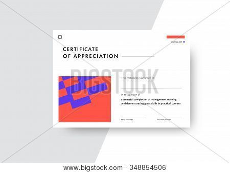 Certificate of appreciation template design. Elegant business diploma layout for training graduation or course completion. Vector background illustration. stock photo