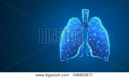 Human Lungs. Organ anatomy, biological air filter, healthy body concept. Polygonal image on blue neon background. Low poly, wireframe, digital 3d vector illustration. Abstract art stock photo