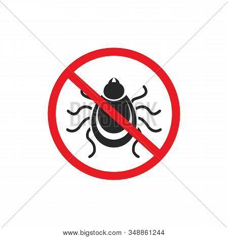 Tick parasite warning sign. Epidemic. Human mite parasite. Mite parasites. stock photo