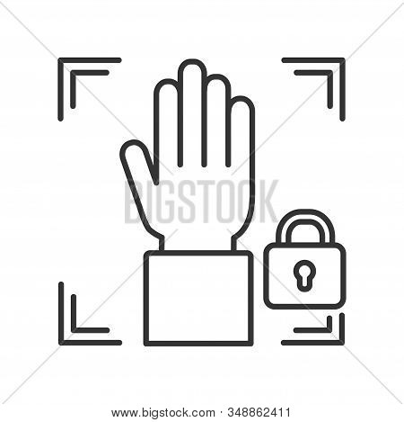 Palm print scan black line icon private protection or locked line color icon. Blocked user account, private, safe or secure data, access denied. Biometric identification element. stock photo