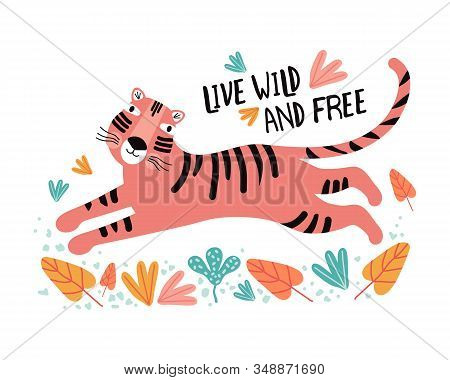 Funny tiger in tropical leaves. Flat vector illustration. Wild exotic animals. Cute animal cartoon character idea for child printable stuff and t shirt, greeting card, nursery wall art. Hand drawn. stock photo