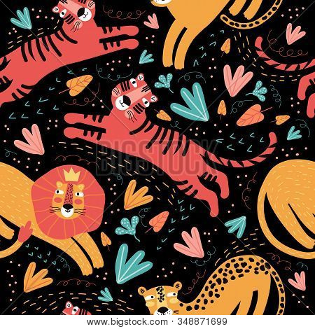 Seamless pattern wild animal and tropic plants. Funny cartoon character tiger, leopard, Jaguar, lion. Background cute wild cats in the jungle and safari. Scandinavian style flat design. Children print. stock photo