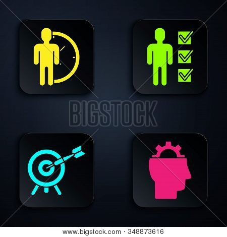 Set Human with gear inside, Time Management, Target with arrow and User of man in business suit. Black square button. Vector stock photo