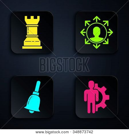 Set Human with gear inside, Business strategy, Ringing bell and Project team base. Black square button. Vector stock photo
