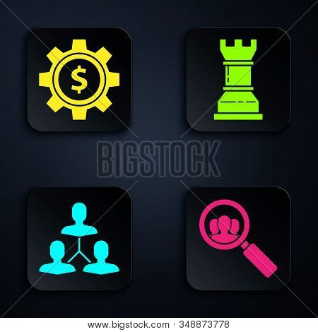 Set Magnifying glass for search a people, Gear with dollar symbol, Project team base and Business strategy. Black square button. Vector stock photo