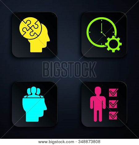 Set User of man in business suit, Human head puzzles strategy, Project team base and Time Management. Black square button. Vector stock photo