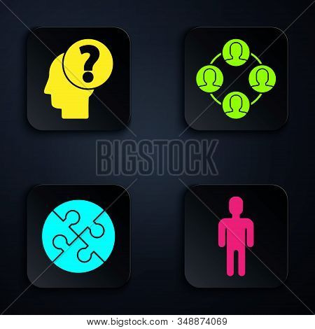 Set User of man in business suit, Human head with question mark, Piece of puzzle and Project team base. Black square button. Vector stock photo