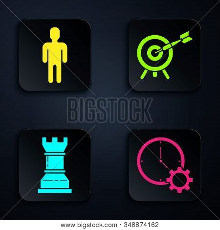 Set Time Management, User of man in business suit, Business strategy and Target with arrow. Black square button. Vector stock photo