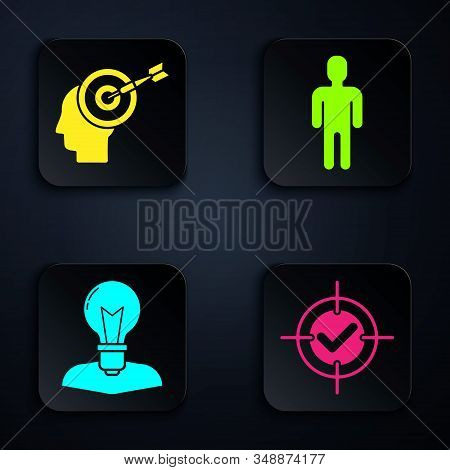 Set Target and check mark, Head hunting concept, Human head with lamp bulb and User of man in business suit. Black square button. Vector stock photo