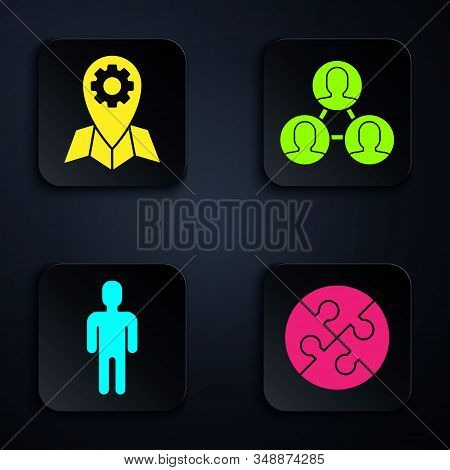 Set Piece of puzzle, Location job, User of man in business suit and Project team base. Black square button. Vector stock photo