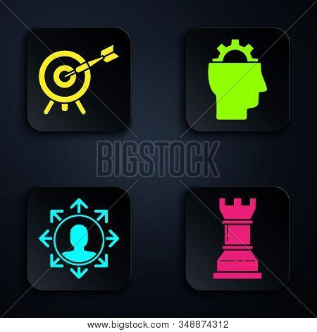 Set Business strategy, Target with arrow, Project team base and Human with gear inside. Black square button. Vector stock photo