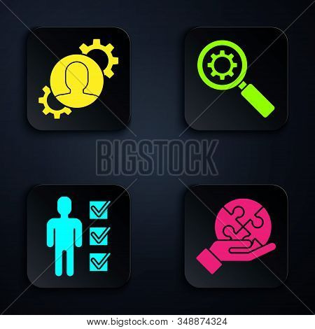 Set Piece of puzzle in hand, Human with gear inside, User of man in business suit and Magnifying glass and gear. Black square button. Vector stock photo
