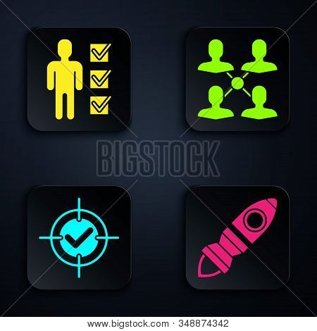 Set Rocket ship with fire, User of man in business suit, Target and check mark and Project team base. Black square button. Vector stock photo