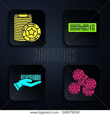 Set Casino chips, Casino chips, Hand holding deck of playing cards and Deck of playing cards. Black square button. Vector stock photo