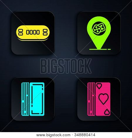 Set Deck of playing cards, Poker table, Deck of playing cards and Casino location. Black square button. Vector stock photo