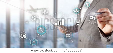 Cogwheel Gears abstract background business technology automation industry concept of blurred modern city background. stock photo