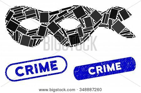 Mosaic crime mask and grunge stamp seals with Crime text. Mosaic vector crime mask is composed with random rectangle items. Crime stamp seals use blue color, and have round rectangle shape. stock photo
