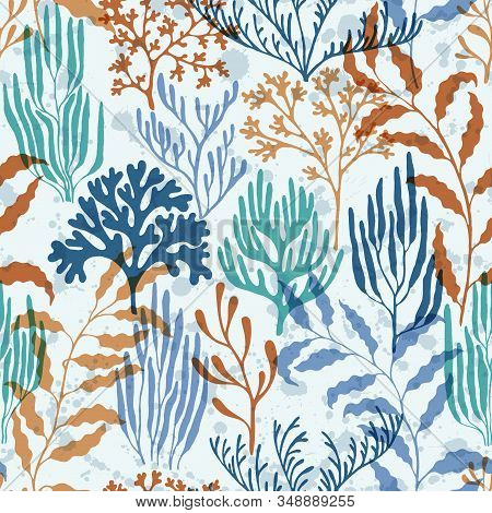 Coral reef seamless pattern. Kelp laminaria seaweed algae background. Aquatic plants repeating vector background. Australian staghorn and pillar corals branches. Organic botanical pattern. stock photo