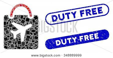 Mosaic duty free bag and distressed stamp seals with Duty Free text. Mosaic vector duty free bag is composed with scattered rectangle items. Duty Free seals use blue color, stock photo
