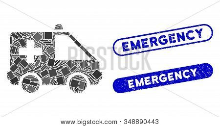 Mosaic emergency car and rubber stamp seals with Emergency phrase. Mosaic vector emergency car is created with random rectangle items. Emergency stamp seals use blue color, stock photo