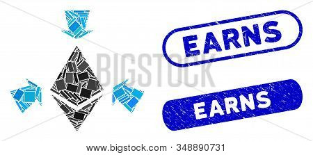 Collage Ethereum collect arrows and grunge stamp seals with Earns phrase. Mosaic vector Ethereum collect arrows is created with scattered rectangles. Earns stamp seals use blue color, stock photo