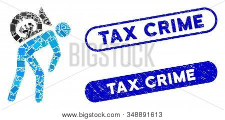 Mosaic Euro financial courier and corroded stamp seals with Tax Crime caption. Mosaic vector Euro financial courier is designed with randomized rectangle items. Tax Crime stamp seals use blue color, stock photo