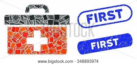 Mosaic first aid toolbox and distressed stamp seals with First caption. Mosaic vector first aid toolbox is created with randomized rectangle items. First seals use blue color, stock photo