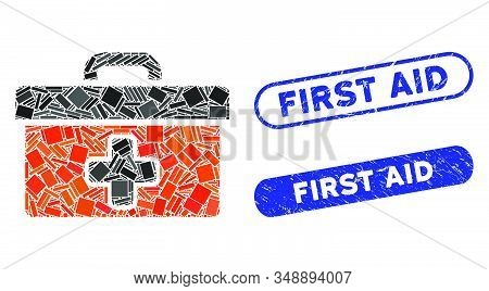 Mosaic first aid toolbox and rubber stamp seals with First Aid phrase. Mosaic vector first aid toolbox is formed with random rectangle items. First Aid stamp seals use blue color, stock photo