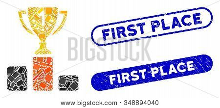 Mosaic first place cup and corroded stamp seals with First Place text. Mosaic vector first place cup is designed with scattered rectangle items. First Place stamp seals use blue color, stock photo