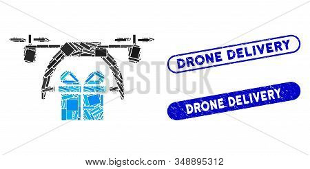 Mosaic gift drone delivery and rubber stamp seals with Drone Delivery caption. Mosaic vector gift drone delivery is composed with randomized rectangle items. Drone Delivery stamp seals use blue color, stock photo