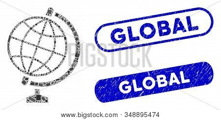 Mosaic global and rubber stamp seals with Global text. Mosaic vector global is formed with randomized rectangle items. Global stamp seals use blue color, and have round rectangle shape. stock photo