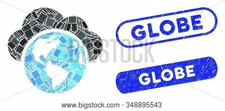 Mosaic globe and distressed stamp seals with Globe caption. Mosaic vector globe is composed with scattered rectangle items. Globe seals use blue color, and have round rectangle shape. stock photo