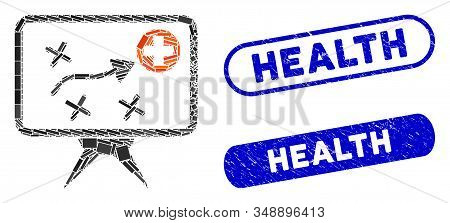 Mosaic health strategy and distressed stamp seals with Health phrase. Mosaic vector health strategy is created with randomized rectangle items. Health stamp seals use blue color, stock photo