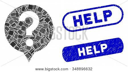 Mosaic help and rubber stamp seals with Help caption. Mosaic vector help is designed with randomized rectangle items. Help stamp seals use blue color, and have round rectangle shape. stock photo