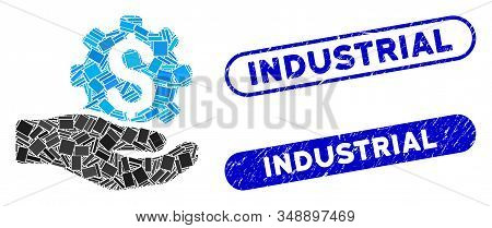 Collage industrial service and distressed stamp watermarks with Industrial caption. Mosaic vector industrial service is created with random rectangle items. Industrial stamp seals use blue color, stock photo